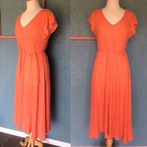 Lou & Grey 100% linen coral maxi dress